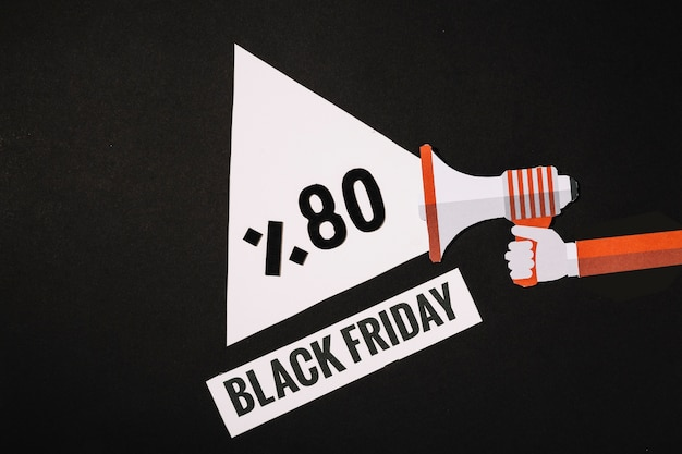 Megafono a fascio con offerta di sconto dell'80% del black friday