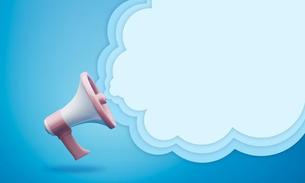 Megafono con sfondo 3d nuvoletta