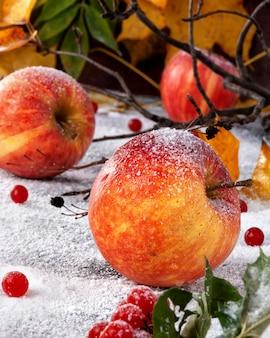 Mele a strisce cosparse di zucchero a velo. il piatto simula le mele sulla neve