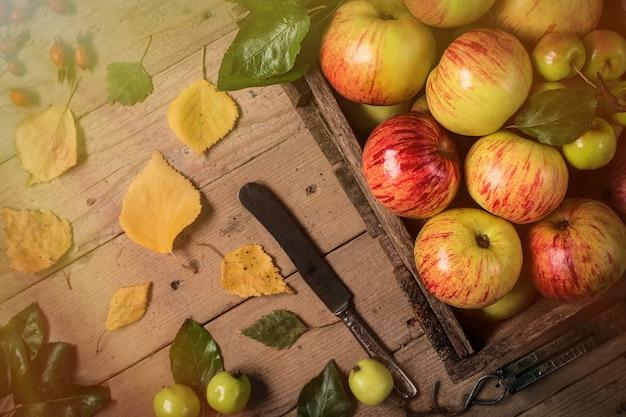 Mele verdi e rosse sulla tavola di legno. foto tonica