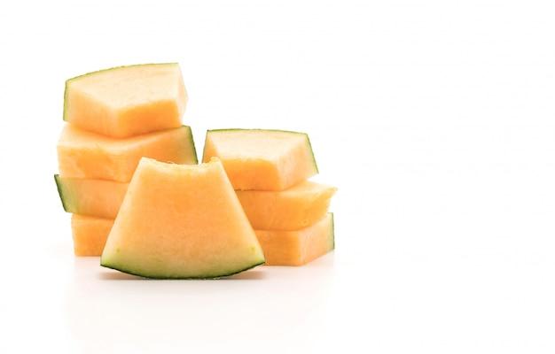 Melone cantalupo su bianco
