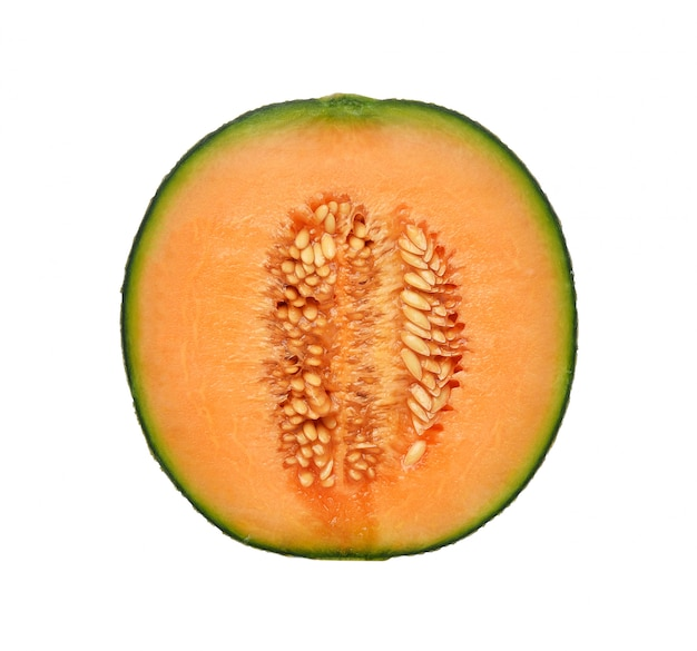 Melone del cantalupo su priorità bassa bianca
