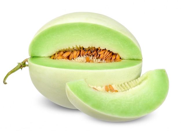 Melone di melata isolato su bianco con il percorso di ritaglio