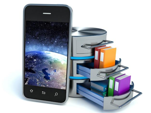 Memorizzazione dati smartphone su bianco