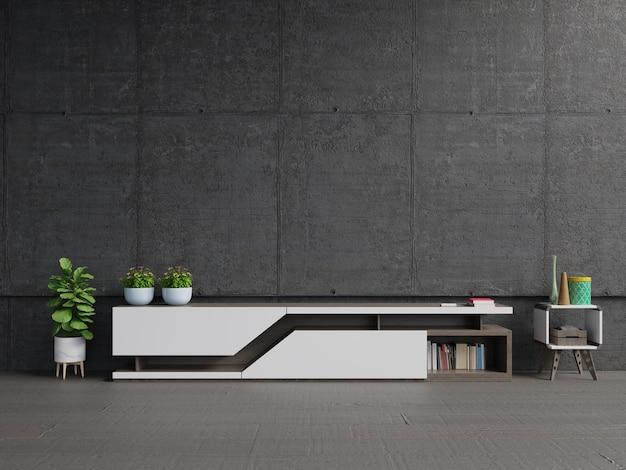 Mensola tv sul moderno salotto con il muro di cemento.