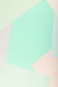 Menta blu e rosa di colore pastello carta geometrica piatta sfondo laici.