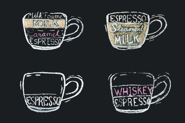 Menu del caffè con lavagna