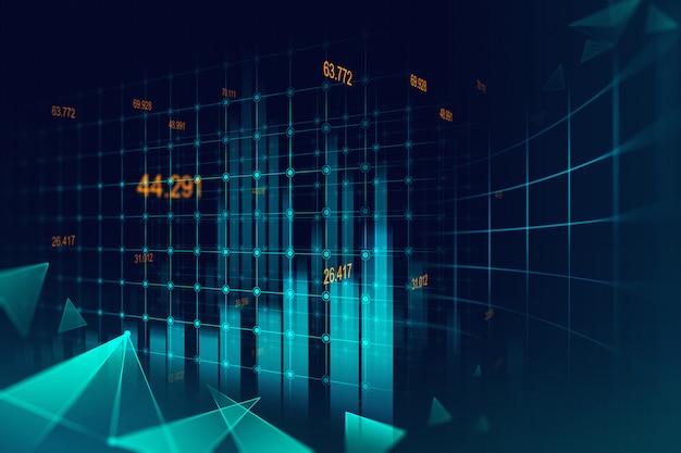 Mercato azionario o forex trading grafico in concetto grafico