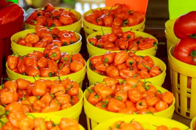 Mercato dei contadini che vende peperoni