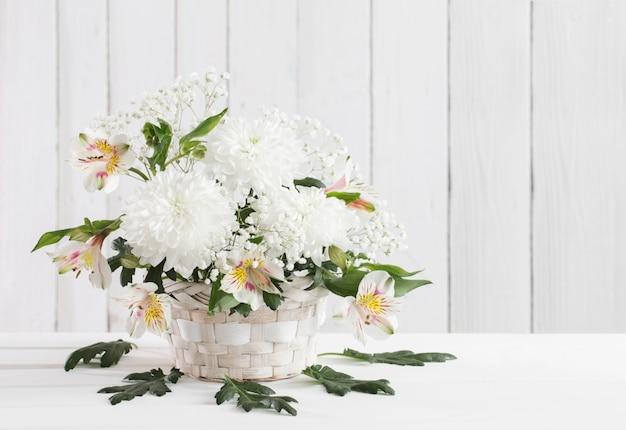 Merce nel carrello del crisantemo su spazio bianco