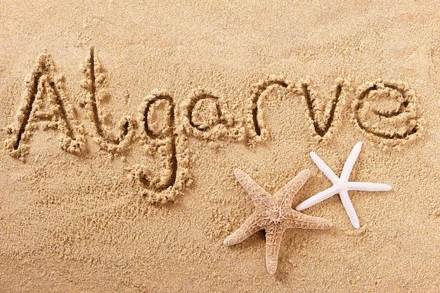 Messaggio di scrittura della spiaggia di estate del portogallo di algarve