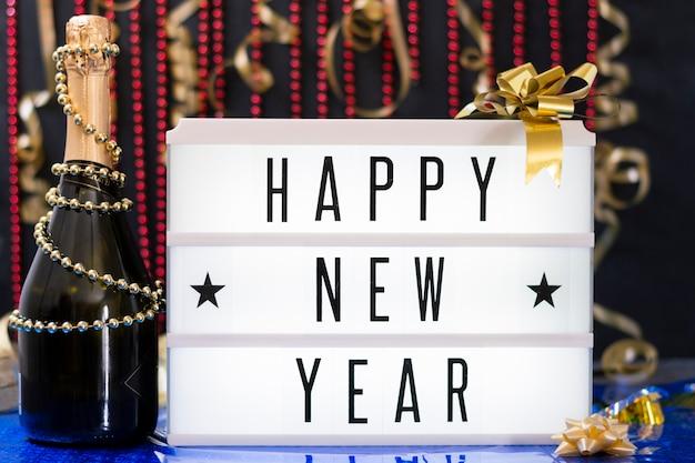 Messaggio di vista frontale per l'evento del nuovo anno