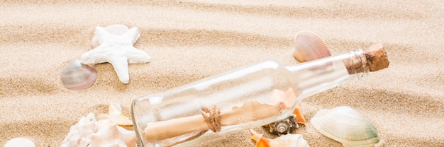 Messaggio in bottiglia sulla spiaggia.
