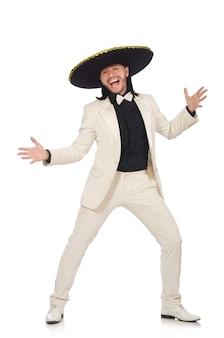 Messicano divertente in vestito e sombrero isolato su bianco
