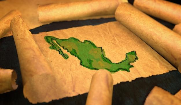 Messico mappa pittura unfolding old paper scorrimento 3d