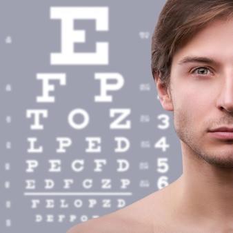 Metà del viso e dell'occhio maschile