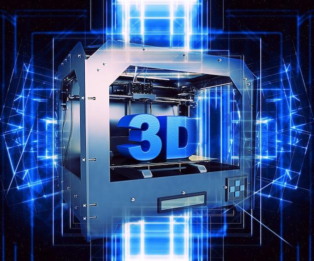 Metallico della stampante 3d con linee astratte