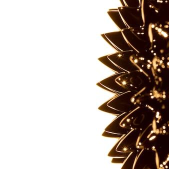 Metallo liquido ferromagnetico dorato con spazio di copia