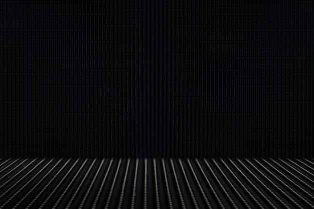 Metallo nero, ferro, pavimento in acciaio con texture di sfondo
