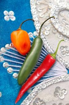 Mexican hot chili peppers rosso habanero serrano