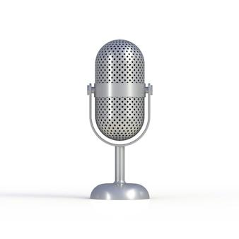 Microfono d'argento d'annata isolato su fondo bianco, rappresentazione 3d