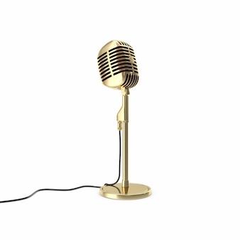 Microfono d'oro vintage sul pavimento isolato.
