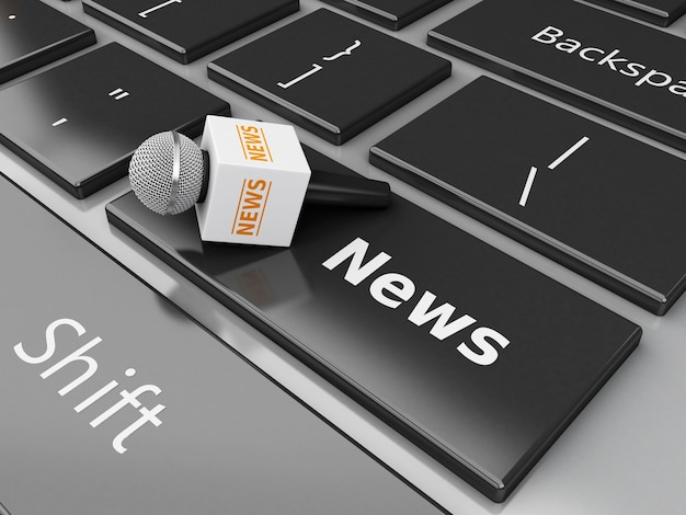 Microfono di notizie 3d e tastiera di computer con le notizie di parola.