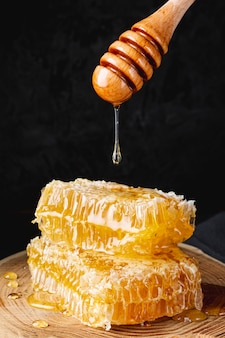 Miele che gocciola dal merlo acquaiolo sopra i favi