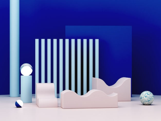 Minima scena 3d con podio e sfondo astratto nei colori blu.