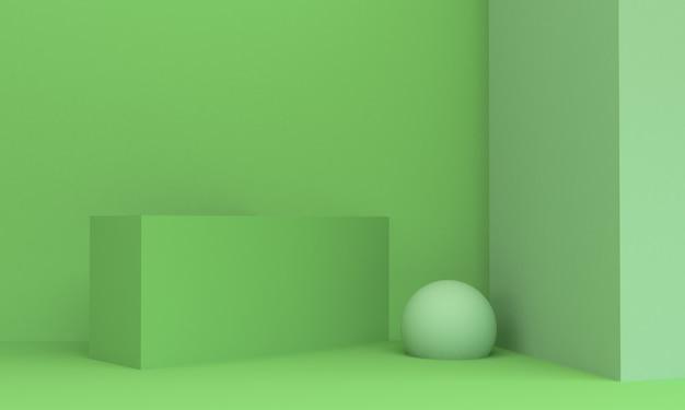 Minimo di scena verde geometrica di forma, rappresentazione 3d.