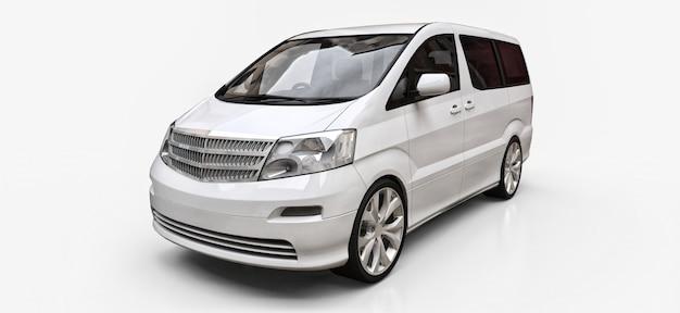 Minivan bianco per il trasporto di persone. illustrazione tridimensionale su uno sfondo bianco lucido