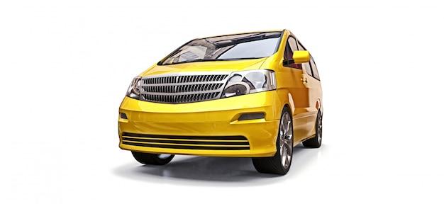 Minivan giallo per il trasporto di persone. illustrazione tridimensionale su uno sfondo bianco. rendering 3d.