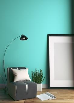 Mint room -beautiful room, empty room, modern bright interior. rendering 3d
