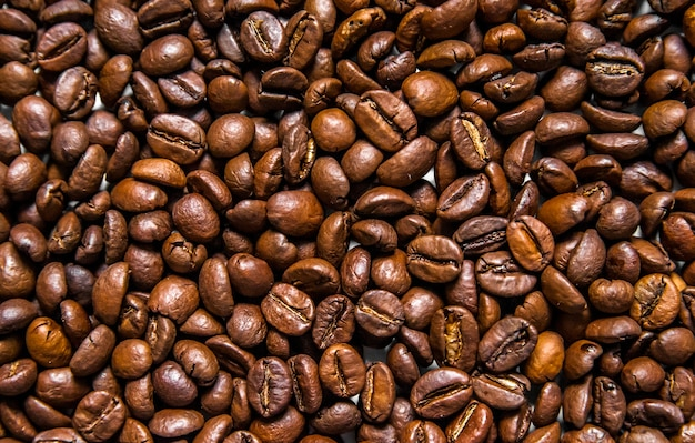 Miscela di diversi tipi di chicchi di caffè. sfondo del caffè. chicchi di caffè tostati. chicchi di caffè isolato su sfondo bianco