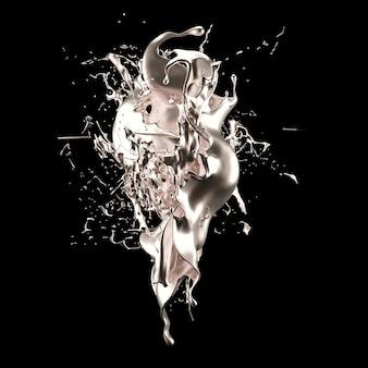 Mistica lussuosa spruzzata, con sfumature argento lucido perlato. rendering 3d.