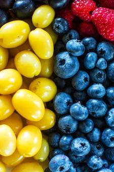 Mix di bacche gialle e blu. frutta estiva estiva. layout di bacche