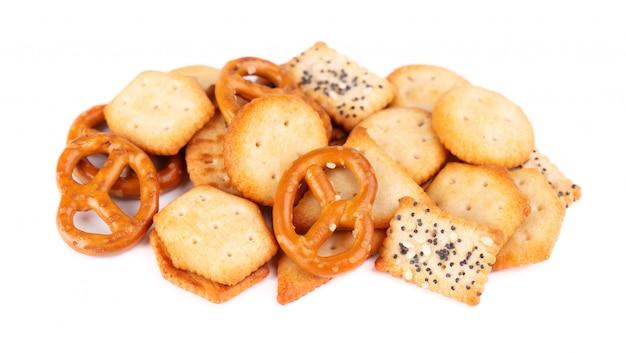 Mix di cracker isolato