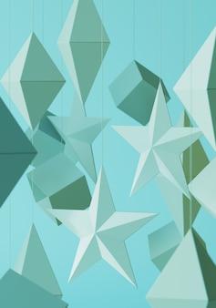Mobile appeso a stelle e geometrico. rendering di illustrazione 3d.