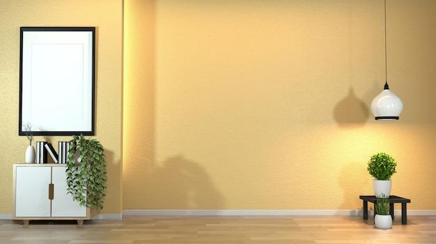 Mobile in moderno salotto zen con decoro in stile zen su parete gialla design luce nascosta.