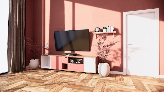 Mobile tv e display interni giapponesi del salotto rosa sakura per l'editing. rendering 3d