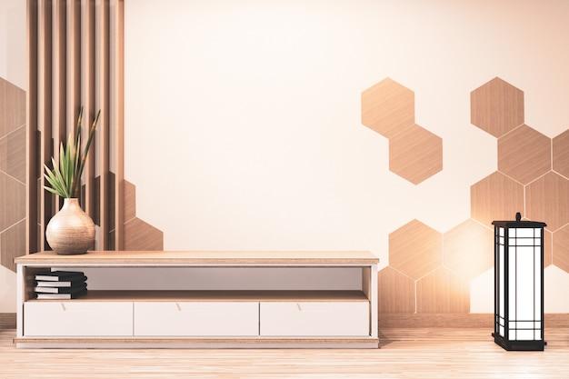 Mobile tv in legno con piastrelle esagonali in legno su parete in stile giapponese