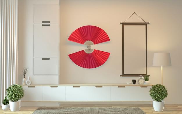 Mobile tv nella moderna stanza vuota giapponese - stile zen, design minimale. rendering 3d
