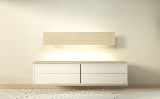 Mock up cabinet nella moderna stanza vuota di zen, design minimale. rendering 3d