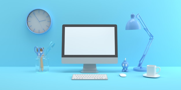 Mock up composizione con schermo del computer e forniture per ufficio