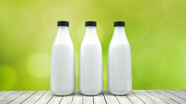 Mock-up della bottiglia per il latte - tre bottiglie. etichetta vuota