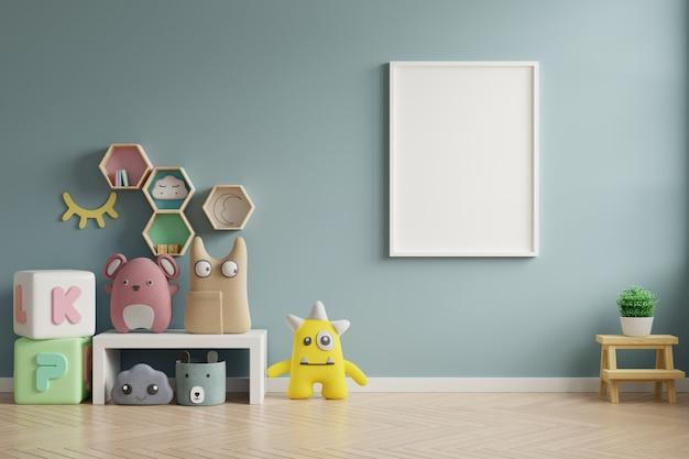 Mock up frame poster in camera dei bambini, camera dei bambini, mockup di scuola materna, parete blu.