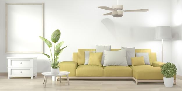 Mock up frame poster in salotto con divano giallo e piante decorative sul pavimento