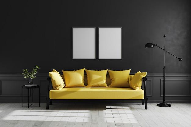 Mock up frame poster nell'interiore del salone scuro di lusso