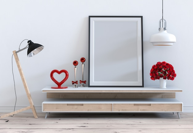 Mock up frame with rose valentine interior living room
