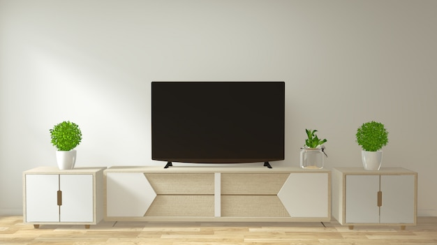 Mock up mobile tv e display con un design minimalista e decorazioni in stile giapponese